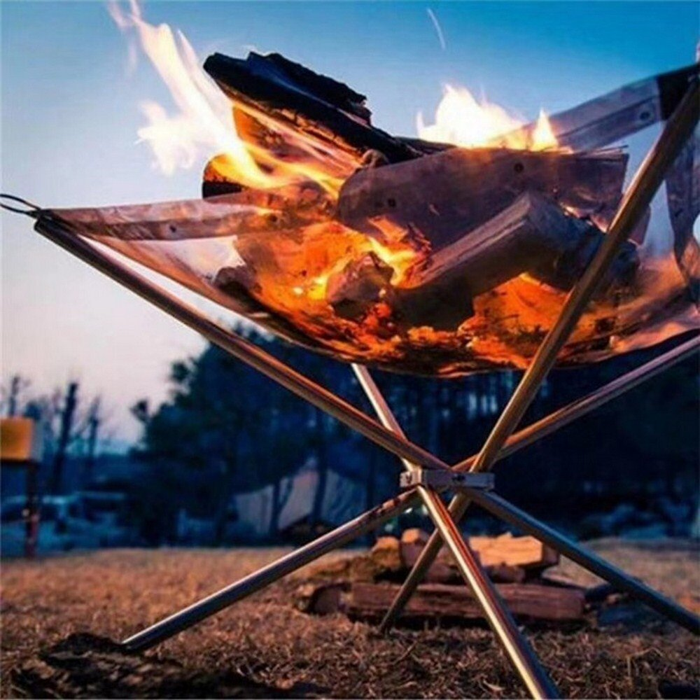 Outdoor Portable Fire Rack Folding Table Grill Stainless Steel Charcoal Stove Super Light Grid Heating Stove Camping BBQ Tools